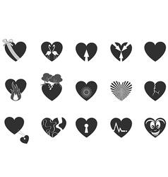 black loving heart icon vector image