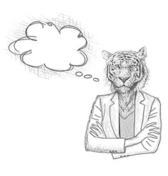 Tiger businessman with a empty speech bubble vector