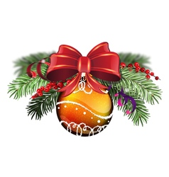 Orange bauble with red bow vector
