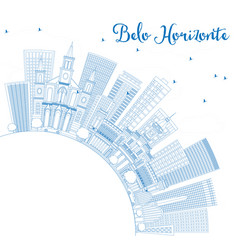 Outline belo horizonte skyline with blue buildings vector