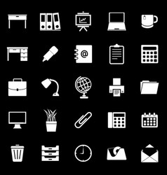 Workspace icons on black background vector