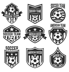 Set of american soccer team labels emblems with vector