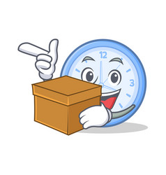 with box clock character cartoon style vector image