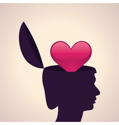 Thinking concept-Human head with heart symbol vector image
