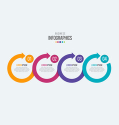 4 steps timeline infographic template with vector image