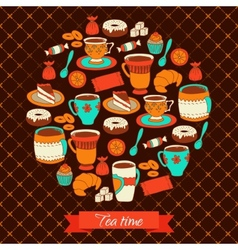 Round greeting card with tea coffee and sweets vector image