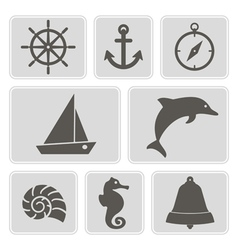Monochrome icons with marine recreation symbols vector