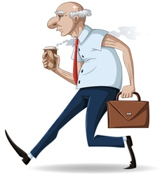 old businessman walks with briefcase and coffee vector image