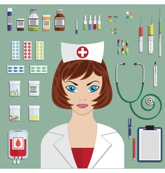 Set of medical icons with nurse portrait vector