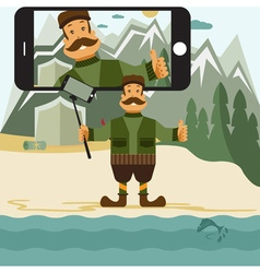 Concept flat design with hunter and selfie stick vector