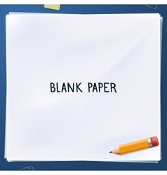 Blank paper with yellow pencil vector