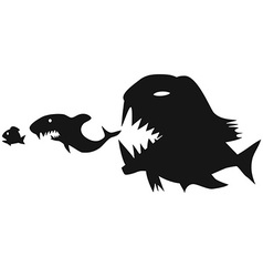 Big fish eating small fish vector