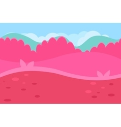 Seamless landscape of grassy road and pink hills vector