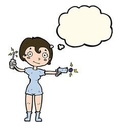 Cartoon future space girl with thought bubble vector