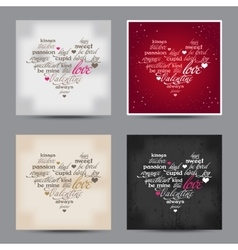 Set of valentine day typography design words vector