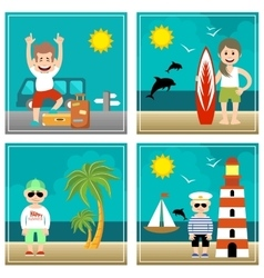 Summer set of  holiday sea travel vector