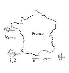 France and franch territory hand-drawn sketch map vector