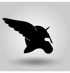 Winged helmet silhouette vector
