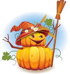Golden pumkin harvest vector