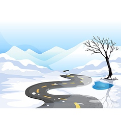 A long road at the snowy place going to the vector image