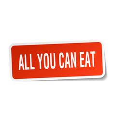 All you can eat square sticker on white vector