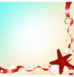 Background with shells and red ribbons vector