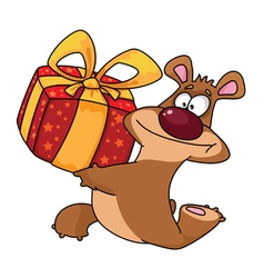 bear and gift box vector image