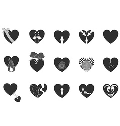 black loving heart icon vector image vector image
