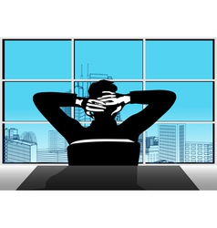 Businessman and window vector