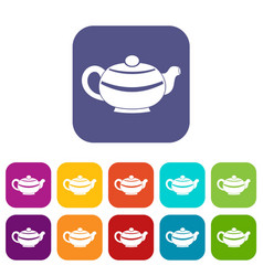 chinese teapot icons set flat vector image