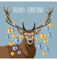Christmas deer and christmas tree toys vector image