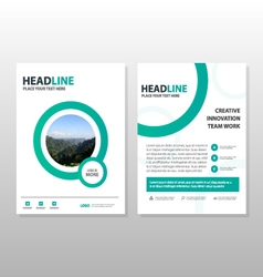 Circle annual report leaflet brochure template set vector