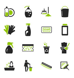 Cleaning company icons set vector