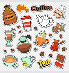 coffee and tea doodle hot drinks with sweet food vector image vector image