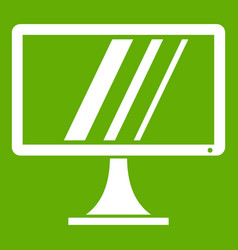 Computer monitor icon green vector