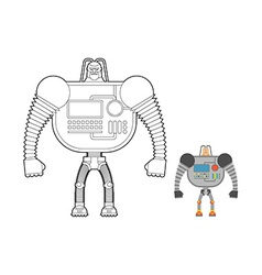 Cyborg warrior coloring book man machine from vector