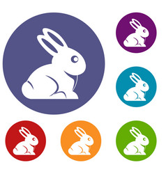 Easter bunny icons set vector