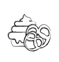 Figure cake dessert with pretzel sweet food vector