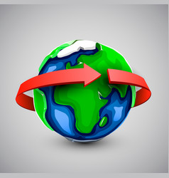 globe design with around the world arrow vector image vector image