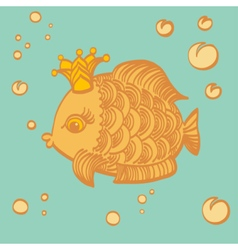 Gold fish with a crown in the sea vector