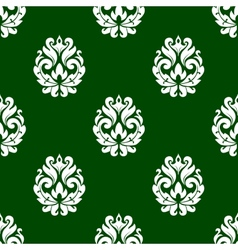 Green floral damask style seamless pattern vector