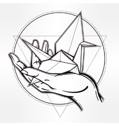 Hand drawn paper crane in a palm vector image