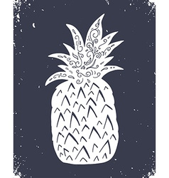 Hand drawn vintage label with pineapple vector image vector image