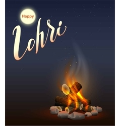 Happy lohri punjabi festival fire burning wood vector