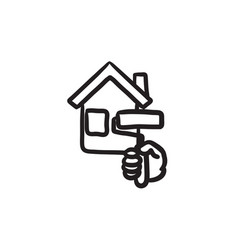 House painting sketch icon vector