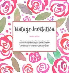 Invitarion card with watercolor vintage roses vector
