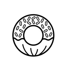 Line delicious and sweet donut desert vector