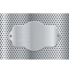 Metal plate on perforated background vector