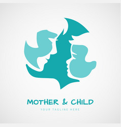 Mother with her baby silhouettes for logo vector