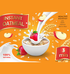 Oatmeal instant with apple and milk ads vector